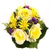 Big Roses Bouquet with lots of accessories   - Violet/Yellow/Darkgreen/Light Yellow