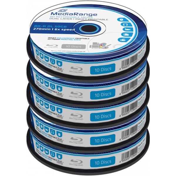 photo about Printable Blu Ray Discs identify - MediaRange Blu-ray Disc BD-R DL, 50 GB / 270 min, 6x, Complete printable, 50-pack