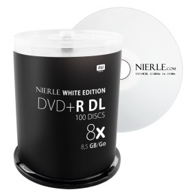 DVD+R DL 8,5 GB NIERLE White Edition 8x Double Layer in cakebox 100 stuks