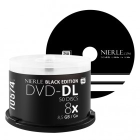 DVD+R DL 8,5 GB NIERLE Black Edition 8x Double Layer Cakeboxissa 50-pakkaus