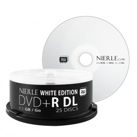 DVD+R DL 8,5 GB NIERLE White Edition 8x Double Layer in cakebox 25 stuks