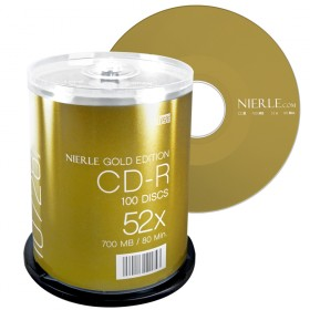 CD-R 80 Min/700 MB NIERLE Gold Edition 52x Cakebox 100-pakkaus