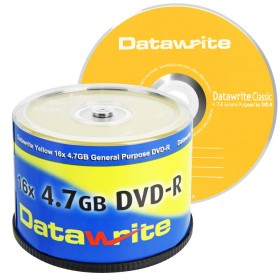 Datawrite Yellow DVD-R 4.7 GB / 120 min 16x, 50 stuks in ECO-pack