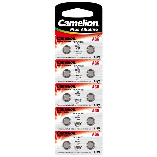 Camelion Alkaline piles boutons, AG6 / G6 / LR921 / LR69 ...
