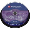 Verbatim DVD Double Layer DVD+R DL 8.5 GB / 240 min 8x, Full printable White No ID, 10 pieces in cakebox