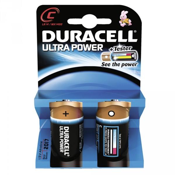 Duracell Ultra Power Alkaline Batteries C Lr14 Baby Mn1400 2 Pack