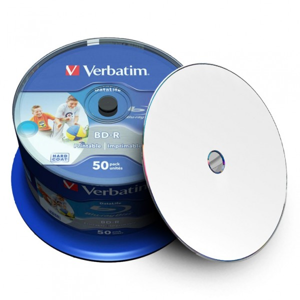 photo regarding Printable Blu Ray Discs referred to as - Verbatim DataLife Blu-ray Disc BD-R 25 GB / 135 min 6x, Total printable, 50 components within cakebox