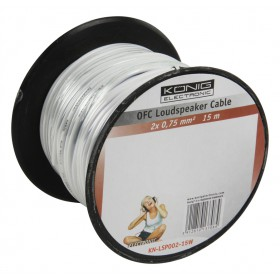 Câble haut parleur OFC 2x 075mm² en bobine de 15 m blanc