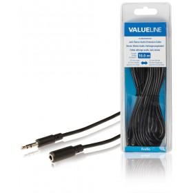 Stereo Klinke Audio Verlängerungskabel 3,5 mm Stecker - 3,5 mm Kupplung 10,0 m schwarz