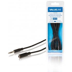 Stereo Klinke Audio Verlängerungskabel 3,5 mm Stecker - 3,5 mm Kupplung 5,00 m schwarz