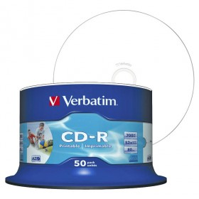 CD-R 80 Min/700 MB Verbatim 52x printable Inkjet Spindle 50-pakkaus