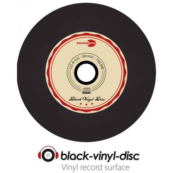 primeon black vinyl disc cd r 700 mb 80 min 52x vinyl 50 pieces