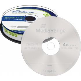 DVD-R MediaRange 1,4 GB 8 cm 4x Speed in Cakebox 10 Stk