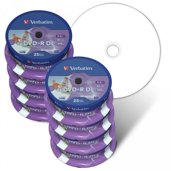 picture regarding Verbatim Dvd R Printable referred to as - Verbatim DVD Double Layer DVD+R DL 8.5 GB / 240 min 8x, Total printable White No Identification, 200-pack in just 25 cakebox