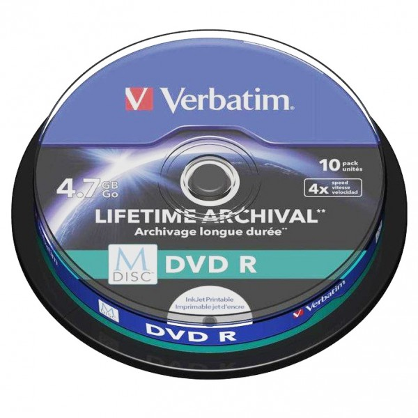 photograph relating to Printable Dvd identify - Verbatim M-DISC DVD R 4.7 GB / 120 min, 4x, Comprehensive printable, 10 elements in just cakebox