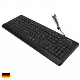 MediaRange MROS102 Multimedia Tastatur, QWERTZ, Kabelanschluss, 113 Tasten, Schwarz