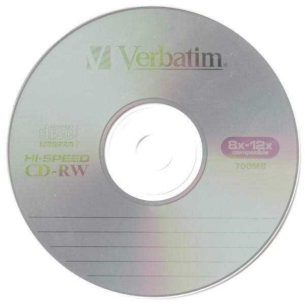 CD RW 80 Min 700 MB Verbatim 8x 12x In Cakebox 10 Pack