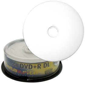 DVD+R DL 8,5 GB Datawrite Double Layer vit skrivbar (fullprintable) 8x maxhastighet i kakbox 25 pcs