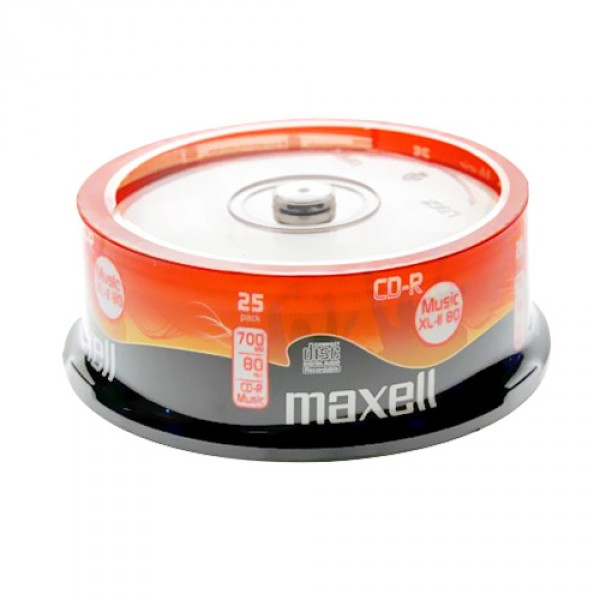 Audio CD R 80 Min 700 MB Maxell XL II In Cakebox 25 Pack
