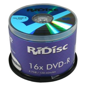 RiDisc DVD-R 120 min/4.7 GB 16x, 50 piezas en ECO-pack