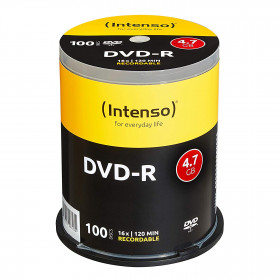 DVD-R 4,7 GB Intenso 16x Speed in Cakebox 100-pack