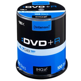 DVD+R 4,7 GB Intenso 16x Speed in Cakebox 100-pack