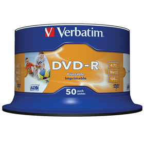 DVD-R 4,7 GB Verbatim 16x Speed Wide Inkjet Printable (fullprintable) NO ID Brand in Cakebox 50 St�ck