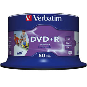 DVD+R 4,7 GB Verbatim 16x Speed Wide Inkjet printable (fullprintable) NO ID Brand in Cakebox 50-pack