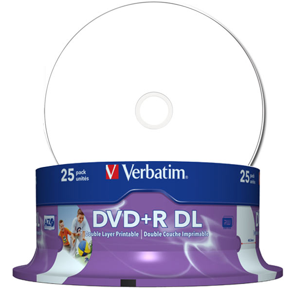 photograph about Verbatim Cd R Printable known as - Verbatim DVD Double Layer DVD+R DL 8.5 GB / 240 min 8x, Finish printable White No Identification, 25 sections inside of cakebox