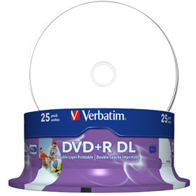 Verbatim DVD Doble Capa DVD+R DL 8.5 GB / 240 min 8x, Full printable White No ID, 25 piezas en caja