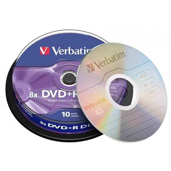 DVD+R DL 8,5 GB Verbatim 8x Sd Double Layer in cakebox 10 pcs on
