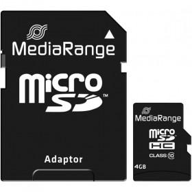 MediaRange Secure Digital micro SDHC-UHS I Speicherkarte, 4 GB, Class 10, mit SD/SDHC Adapter