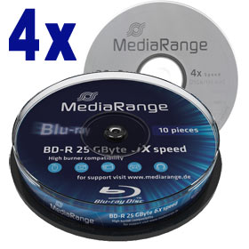 Blu-ray Disc Mediarange BD-R 25 GB, 1-4x Speed in Cakebox , 10 stuks