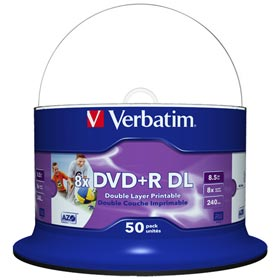 Verbatim DVD Double Layer DVD+R DL 8.5 GB / 240 min 8x, Full printable White No ID, 50 pieces in cakebox