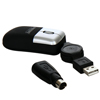 Sansun Optical USB/PS2 Mouse Mini + forl�ngerledning \(0 - 70 cm\) - S�lv bel�gning/Sort
