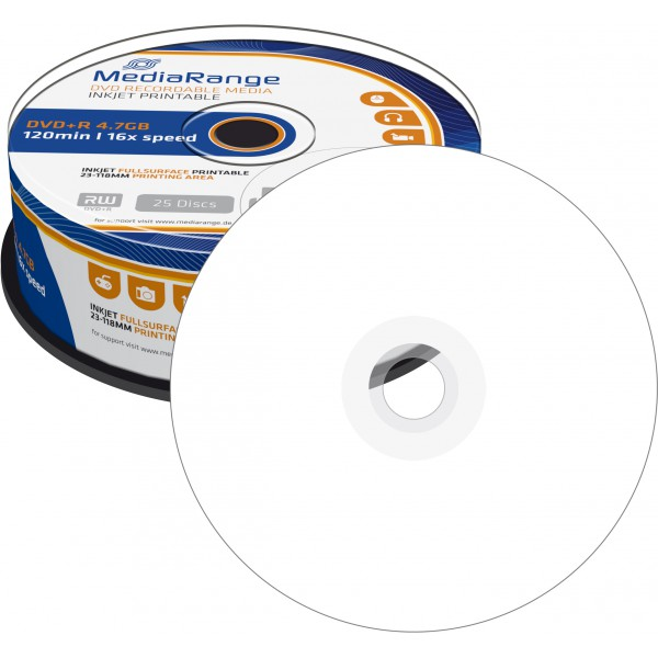 photo regarding Printable Dvd Rohlinge referred to as - DVD+R 4,7 GB MediaRange 16x Rate fullprintable inside of Cakebox 25-pack