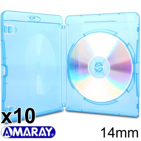 Amaray Blu-ray H�lle, 15 mm, Maschinen-pack-Qualit�t, Transparent, Blau, 10 St�ck