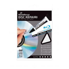 Disc Repair, fjerner ridser for CDR DVDR og Blu-ray, 5 gr. i tube & pudseklud